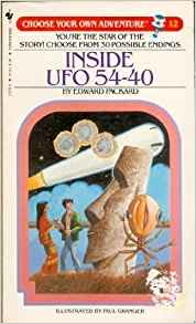 Cover of Edward Packard's 1982 choose-your-own-adventure book Inside UFO 54-40.