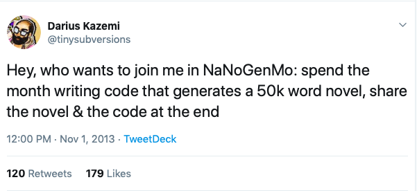 NaNoGenMo_first_tweet
